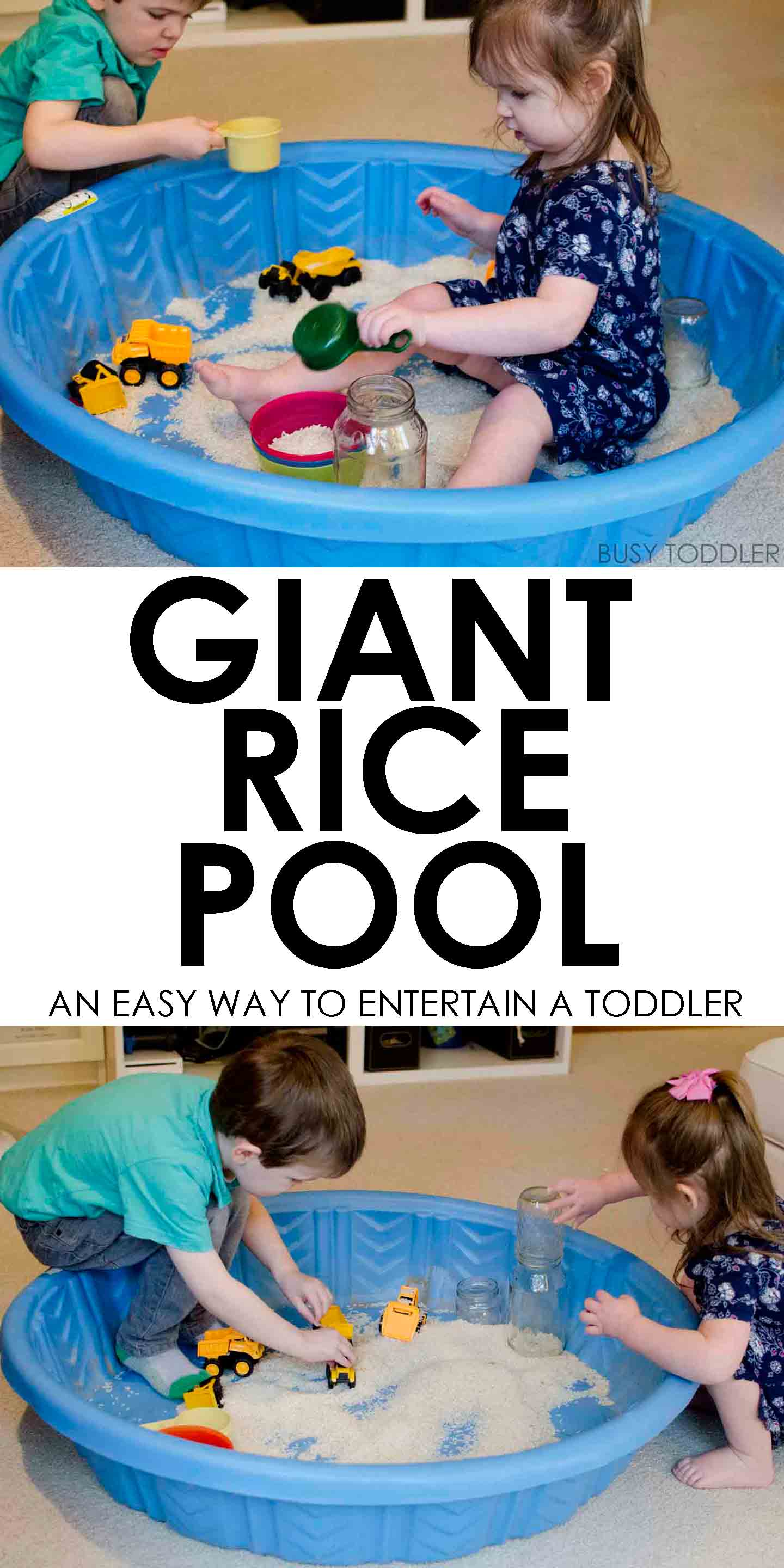 GIANT RICE POOL: What an awesome indoor toddler activity! A fun sensory idea for toddlers. A quick and easy way to entertain toddlers.