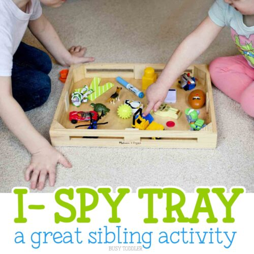 I-Spy Tray: Check out this great sibling activity! A fun take on I-Spy! A great indoor activity that's quick and easy to set up and so fun for toddlers. A perfect toddler activity!