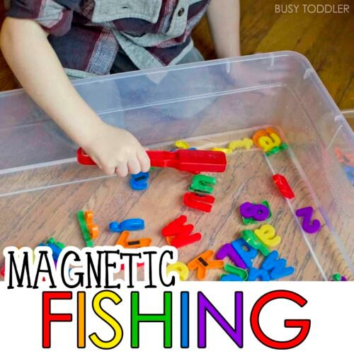 MAGNETIC ALPHABET FISHING - Check out this awesome indoor activity for toddlers and preschoolers. It's the perfect quick and easy activity for toddlers. Preschoolers will love this alphabet activity!