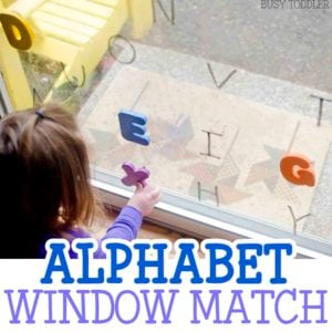 ALPHABET WINDOW MATCH - What a quick and easy alphabet matching activity! Perfect for toddlers and preschoolers learning their letters. You will love this easy indoor activity that's perfect for rainy days with toddlers. Busy Toddler.