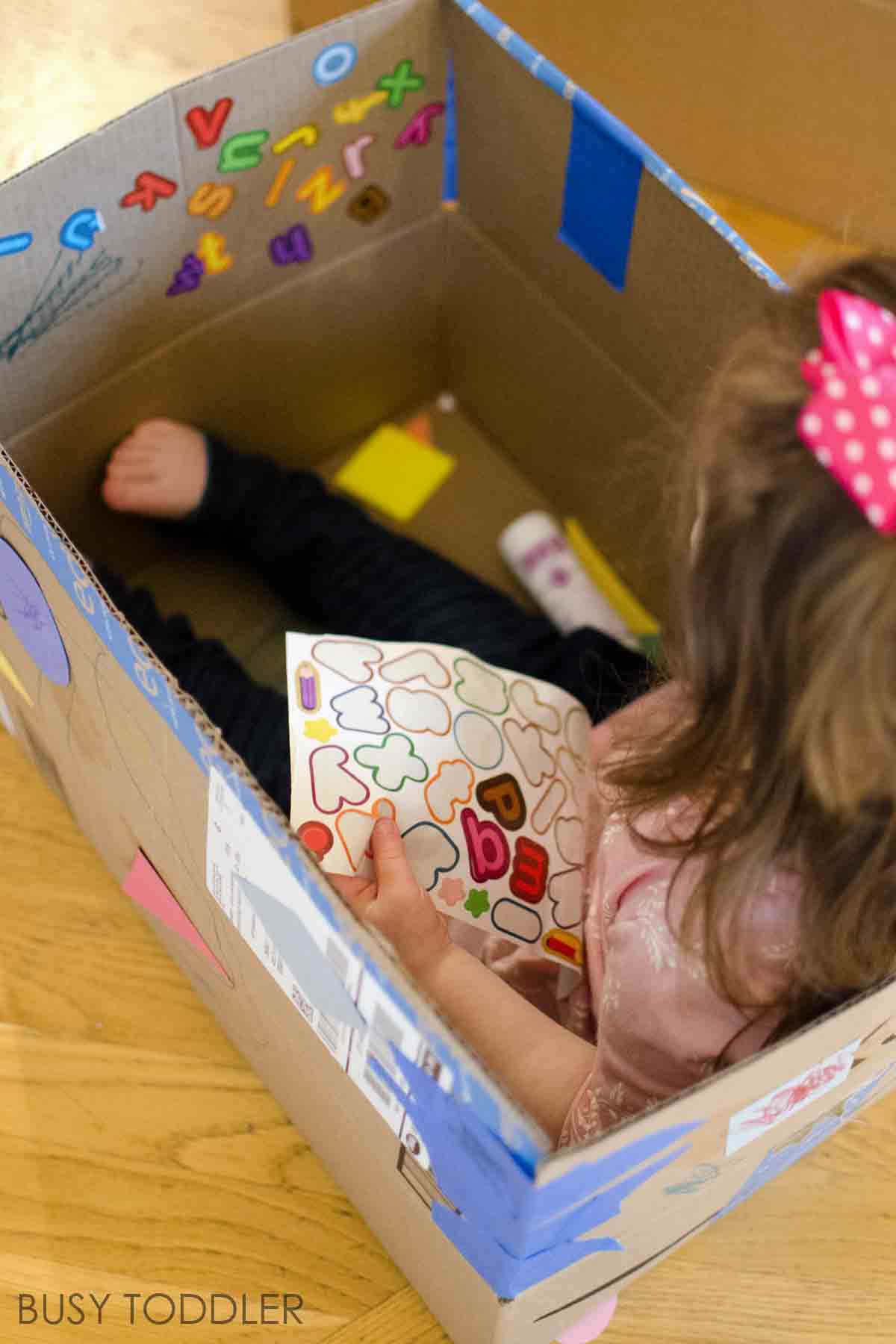 TIPS FOR MAKING EXTREME BOXES: This isn't normal box decorating - this is a legitimate toddler activity that kids love so much! A great indoor activity that you can save and play with for months. A quick and easy toddler activity that's perfect for rainy days.
