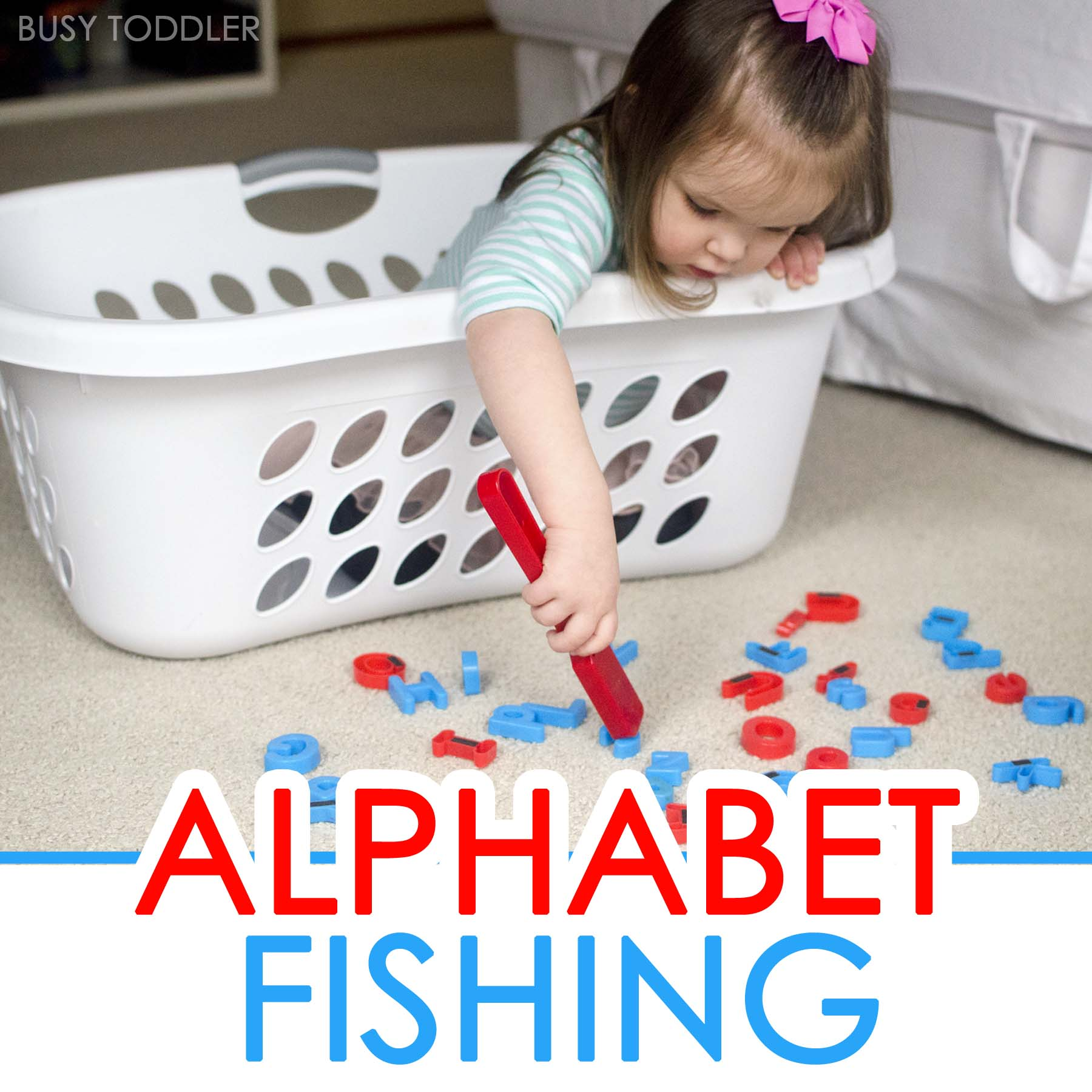 ALPHABET FISHING: An easy toddler alphabet game that's perfect for rainy days. A quick and easy toddler activity! A toddler literacy activity that's simple to set up.