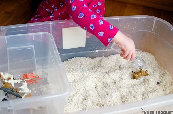 ANIMAL SEARCH & RESCUE: A simple animal sensory activity that's perfect for toddlers; toddlers will love finding hidden animals in this easy indoor activity; a quick and easy toddler activity from Busy Toddler