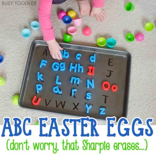 Easter Alphabet Activity: These alphabet filled Easter eggs make for one awesome toddler Easter activity. You will love this easy toddler activity from the A Very Toddler Easter series. A great toddler literacy activity.