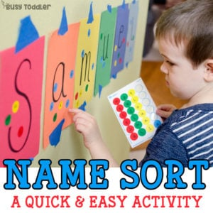 Name Sort: A quick and easy name recognition activity using dot stickers. A fun toddler activity, a great preschool activity; easy indoor activity for toddlers; a perfect learning your name activity - Busy Toddler