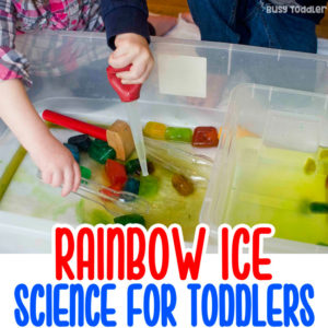 SCIENCE FOR TODDLERS: Try this rainbow ice activity! A quick and easy toddler science activity; fun ice investigation; fine motor skills activity for toddlers; easy indoor activity for toddlers from Busy Toddler