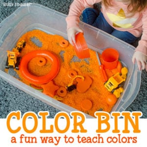 FAVORITE COLOR SENSORY BIN: What's your toddler's favorite color? Explore learning color names with this easy sensory activity. Perfect to accompany Eric Carle's What's Your Favorite Color book. An easy indoor activity for toddlers. A quick and easy toddler activity. Busy Toddler.