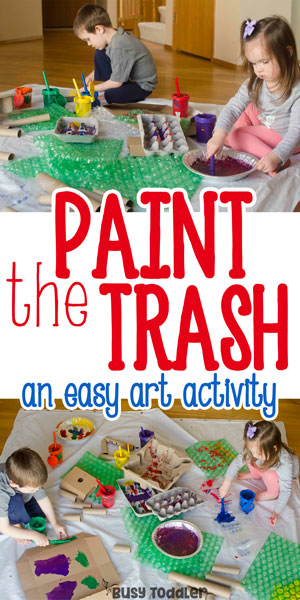 PAINT THE TRASH: An easy process art activity for toddlers and preschoolers. What a fun way to paint! A great indoor activity that's quick and easy from Busy Toddler