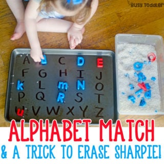 EASY ALPHABET MATCHING ACTIVITY: Check out this easy indoor activity for toddlers; preschoolers will love this alphabet activity; a fun sensory and literacy activity from Busy Toddler