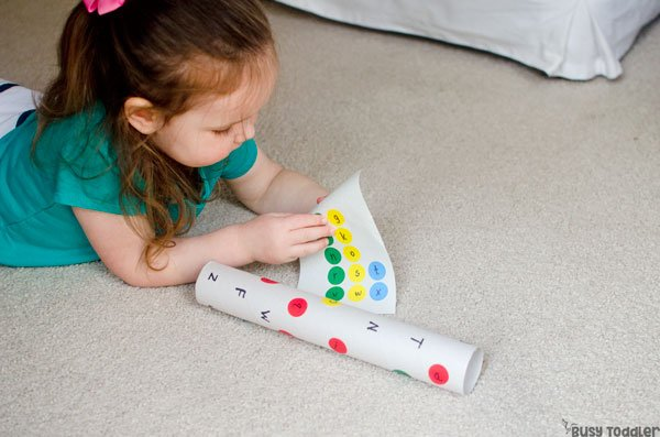 ABC TUBE: An easy letter matching activity that's perfect for toddlers and preschoolers; an easy indoor activity for toddlers; a preschool letters activity; alphabet activity from Busy Toddler