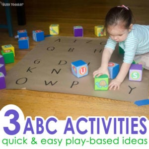 Play-based alphabet activities: Check out these awesome ideas for toddlers; quick and easy alphabet activities; easy indoor activities from Busy Toddler (#sponsored by Lakeshore)