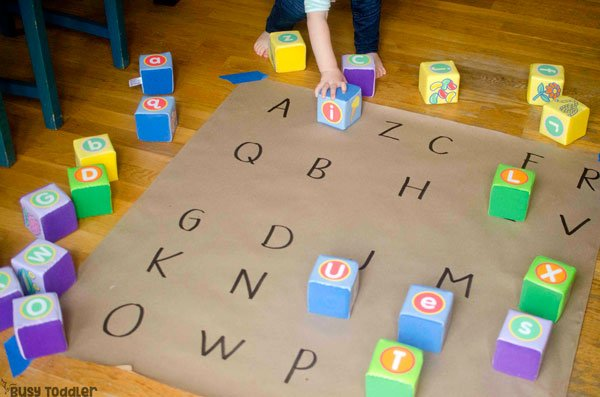 PLAY-BASED ALPHABET ACTIVITIES FOR TODDLERS: Check out these awesome ideas for toddlers; quick and easy alphabet activities; easy indoor activities from Busy Toddler (#sponsored by Lakeshore)