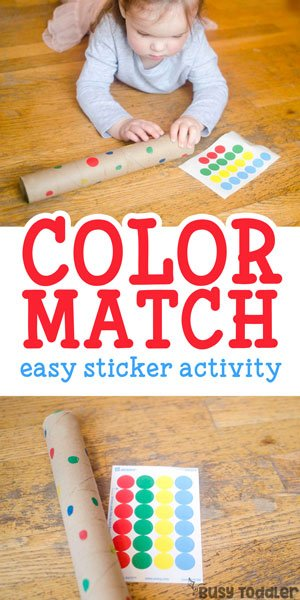 EASY COLOR MATCHING ACTIVITY: This super quick and easy activity is perfect for toddlers; toddlers love dot stickers; easy fine motor skills activity; easy learning activity; identifying colors with Busy Toddler