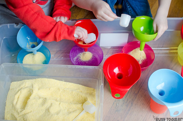 FILLING STATION: A super quick and easy sensory bin that's a snap to set up; an easy sensory activity for toddlers and preschoolers; a fun indoor activity on a rainy day from Busy Toddler