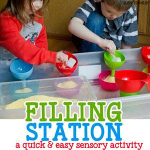 Filling Station – Easy Sensory Bin