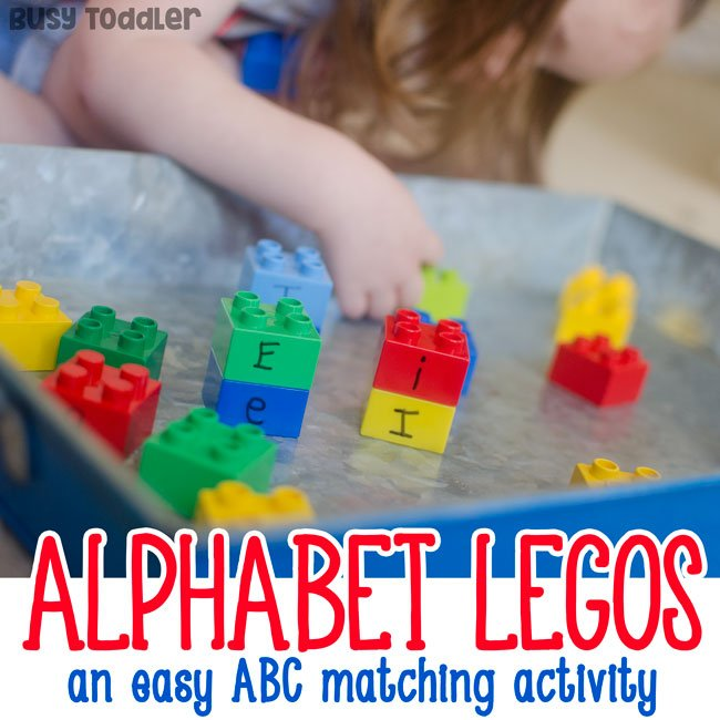 ABC LEGOS: A letter matching activity that's so quick and easy to set up; an easy toddler activity; a great letter activity for toddlers; play-based letters activity from Busy Toddler