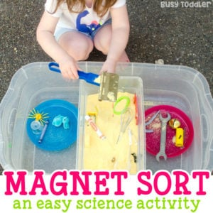 MAGNETIC SORT: A quick and easy toddler science activity; an easy sensory activity; a quick math activity for toddlers; toddlers will love this quick and easy activity from Busy Toddler