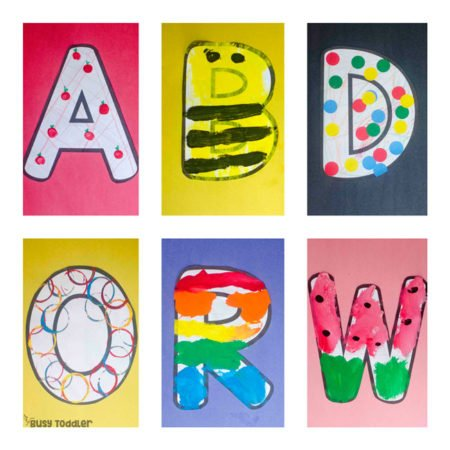 ALPHABET CRAFTS BUNDLE: What a fun way to play with the alphabet! These alphabet craft activities are so much fun and perfect for toddlers and preschoolers learning the ABCs - from Busy Toddler