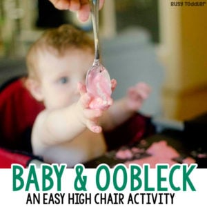 EASY BABY SENSORY ACTIVITY: What a great baby activity! Babies will love this fun sensory activity; an easy indoor activity for baby; play with oobleck; oobleck activity; a great high chair activity from Busy Toddler