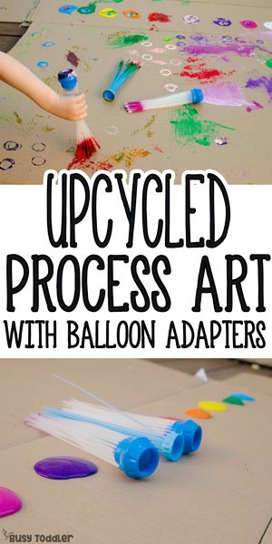 EASY UPCYCLED PROCESS ART: Check out this awesome art activity using balloon adapters; upcycled art from bunch o balloon adapters; easy outdoor art for toddlers; easy art for kids; quick summer activity from Busy Toddler