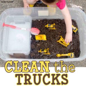 Clean the Trucks Sensory Play