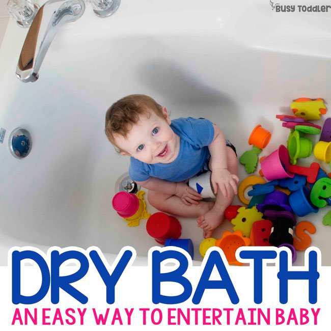 DRY BATH: A quick baby activity that's perfect for the bathroom; babies love this quick and easy activity; an easy way to entertain a baby from Busy Toddler