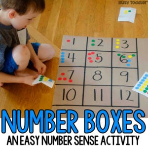 NUMBER BOXES: An easy preschool math activity that kids will love! A quick and easy math activity, indoor math activity, easy indoor activity for preschoolers; number sense activity from Busy Toddler