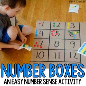 Preschool Math Activity: Number Boxes