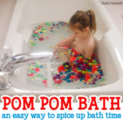 BATH TIME ACTIVITY: Check out this pom pom bath! What an easy activity for toddlers and preschoolers! Kids will love this quick and easy bath activity that's perfect for sick days, rainy days, inside days. An easy activity from Busy Toddler