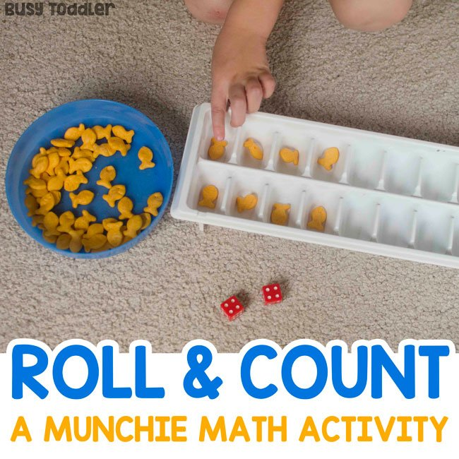 ROLL & COUNT: An easy math activity for preschoolers; a quick number sense activity for preschoolers; preschool edible math; munchie math activity; quick and easy indoor activity from Busy Toddler