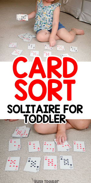 CARD SORT: An easy toddler math game that's so easy to play! A quick and easy toddler math activity; Preschool Math Activity; Toddler sorting activity; A playing cards sorting activity from Busy Toddler