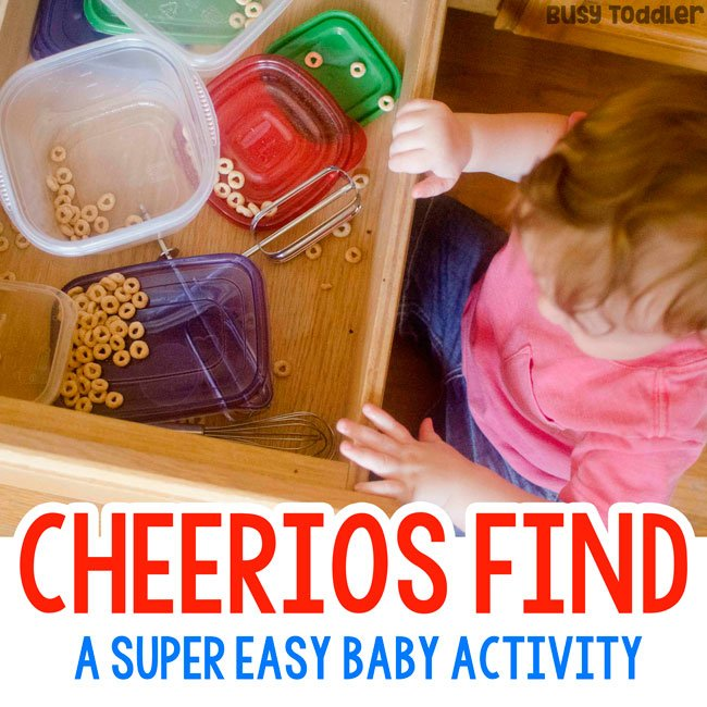 CHEERIOS FIND: A baby fine motor skills activity that's so quick and easy to set up; an easy baby activity; a quick baby activity from Busy Toddler