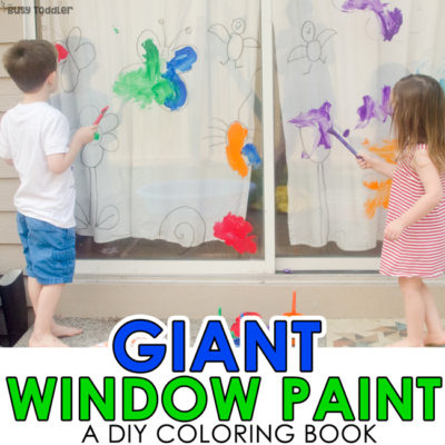 GIANT WINDOW PAINT: An awesome outdoor art activity for toddlers; kids will love this fun way to paint; a quick and easy art activity; A diy coloring page art project from Busy Toddler