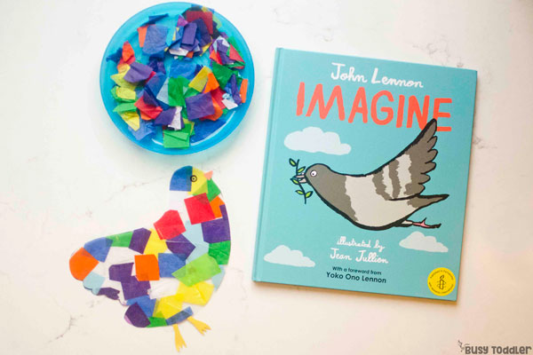 IMAGINE: Window art inspired by Imagine; John Lennon; quick and easy children's book activity; learning activity, art activity for toddlers by Busy Toddler (sponsored by Houghton Mifflin Harcourt)