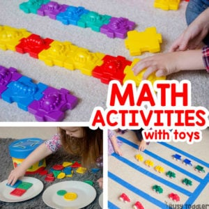 FUN MATH ACTIVITIES WITH TOYS: Check out these quick and easy math activities that kids will love; preschool math activities; toddler math activities; math manipulatives; counting activities for toddlers from Busy Toddler (sponsored by Lakeshore Learning)