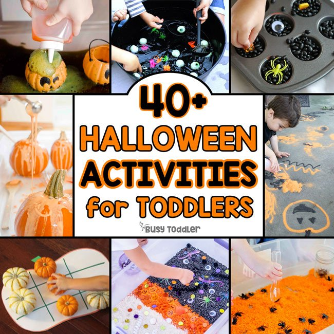 HALLOWEEN ACTIVITIES FOR TODDLERS: Check out this list of Halloween sensory activities; Halloween art activities; Halloween craft activities; quick and easy Halloween activities; toddler Halloween activities; preschool Halloween activities from Busy Toddler