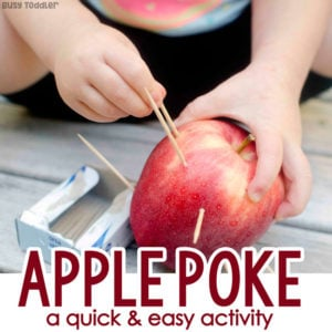 APPLE POKE: A quick and easy fine motor skills activity that toddlers love! A quick and easy toddler activity; an easy indoor activity for toddlers; preschool apples theme activity from Busy Toddler