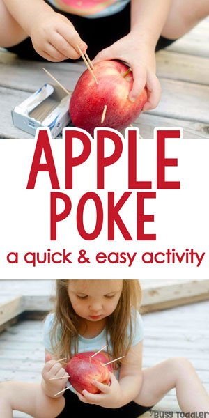 APPLE POKE: A quick and easy fine motor activity that toddlers love! A quick and easy toddler activity; an easy indoor activity for toddlers; preschool apples theme activity from Busy Toddler