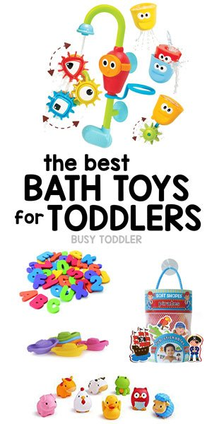 BATH TOYS - Having the right toys in the bath tub can make all the difference! Bath time toy ideas for toddlers; bath tub toys for toddlers; toddler gift ideas from Busy Toddler
