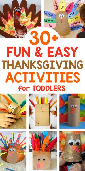 THANKSGIVING ACTIVITIES FOR TODDLERS - Check out these super easy activities for toddlers; thanksgiving crafts for toddlers; thanksgiving art for toddlers; thanksgiving games for toddlers; how to entertain your toddler at thanksgiving dinner; thanksgiving activities for kids; thanksgiving crafts for kids from Busy Toddler