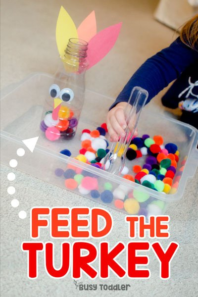 FEED THE TURKEY: You've got to check out this easy toddler activity; easy Thanksgiving activity for toddlers; toddler thanksgiving activity; fine motor activity; quick and easy toddler activity from Busy Toddler