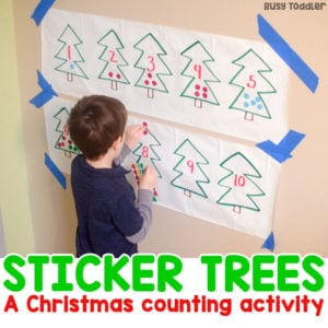 STICKER TREES: A Christmas counting activity that's quick and easy to set up; quick and easy preschool math activity; easy math activity; indoor activity; winter activitiy for preschoolers from Busy Toddler