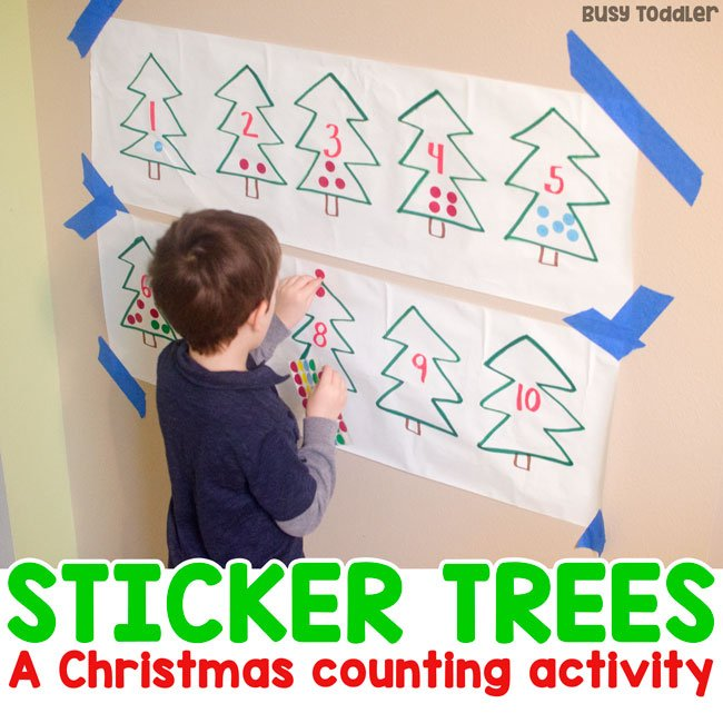 STICKER TREES:  A Christmas counting activity that's quick and easy to set up; quick and easy preschool math activity; easy math activity; indoor activity; winter activity for preschoolers from Busy Toddler
