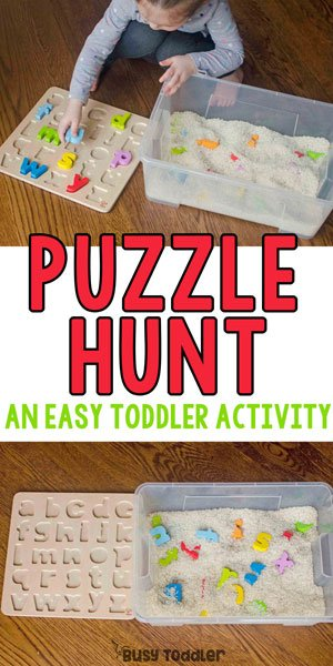 PUZZLE HUNT SENSORY BIN: A quick and easy toddler activity! An easy indoor activity; an easy sensory bin; preschool activity; toddler activity; rainy day activity from Busy Toddler
