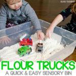 Flour Trucks: Easy Toddler Sensory Bin