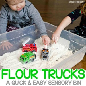 FLOUR TRUCKS: A quick and easy sensory activity for toddlers; a great sensory bin; easy rainy day activity for toddlers; messy sensory play; easy toddler activity from Busy Toddler