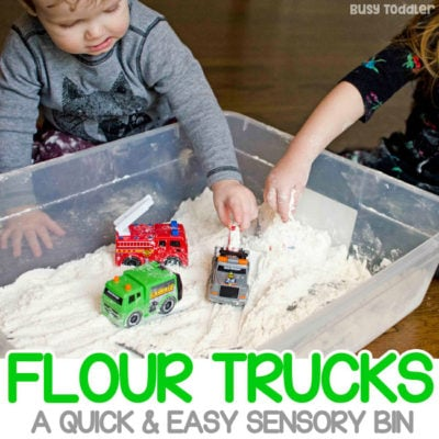 Flour Trucks: Easy Toddler Sensory Bin