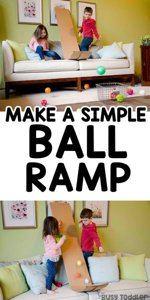 DIY TODDLER TOY: Check out this awesome ski jump ball activity; a DIY ball ramp from a cardboard box; easy indoor activity; gross motor activity; using recycled items; quick and easy activity; cardboard box activity from Busy Toddler