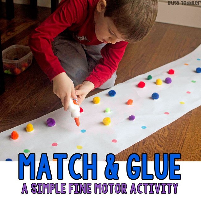 preschool fine motor activity match glue. Black Bedroom Furniture Sets. Home Design Ideas