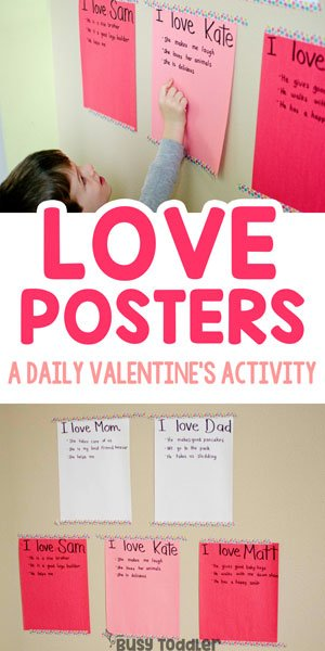 LOVE POSTERS: Here's an easy Valentine's activity for the whole family; introducing Valentine's Day to toddlers; easy indoor Valentine's Day activity from Busy Toddler